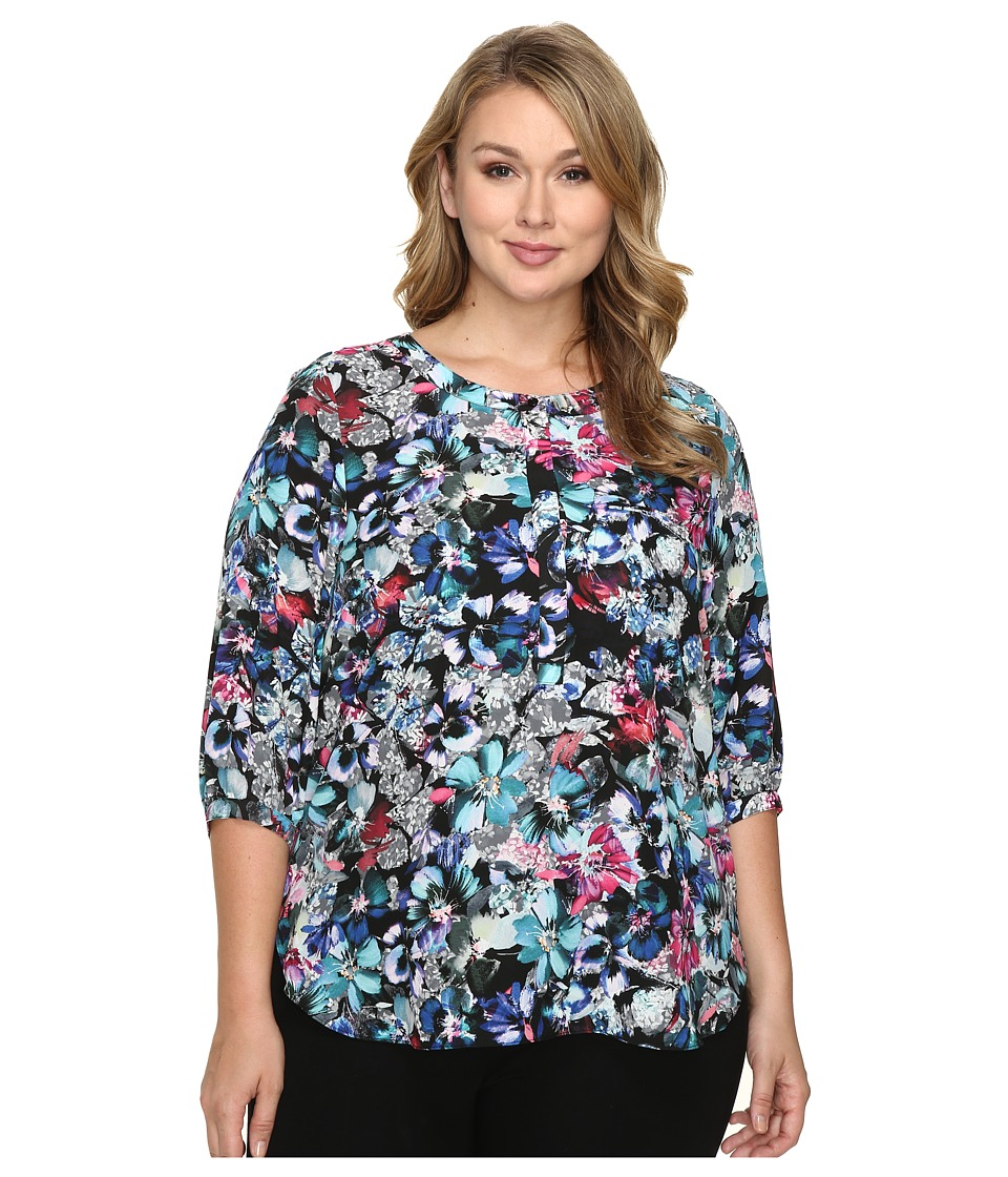 NYDJ Plus Size - Plus Size Solid 3/4 Sleeve Pleat Back (Bountiful Gardens) Women's Long Sleeve Button Up