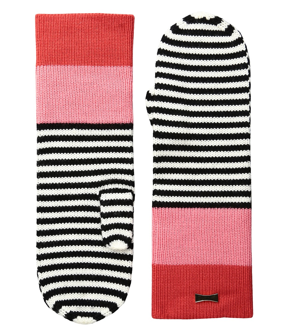 Kate Spade New York - Color Block Stripe Mitten (Persimmon Grove) Extreme Cold Weather Gloves