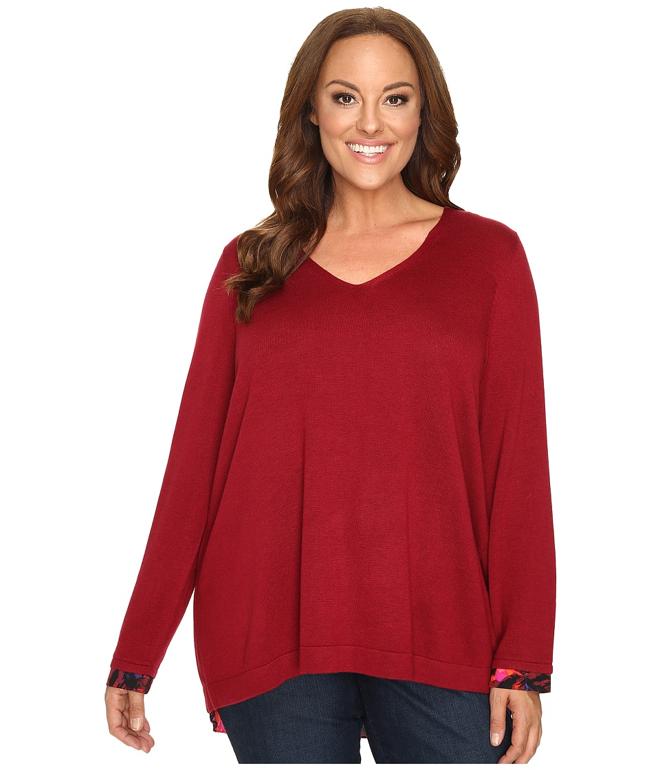 NYDJ Plus Size - Plus Size Mixed Media V-Neck Sweater (Carmine Promise) Women's Sweater