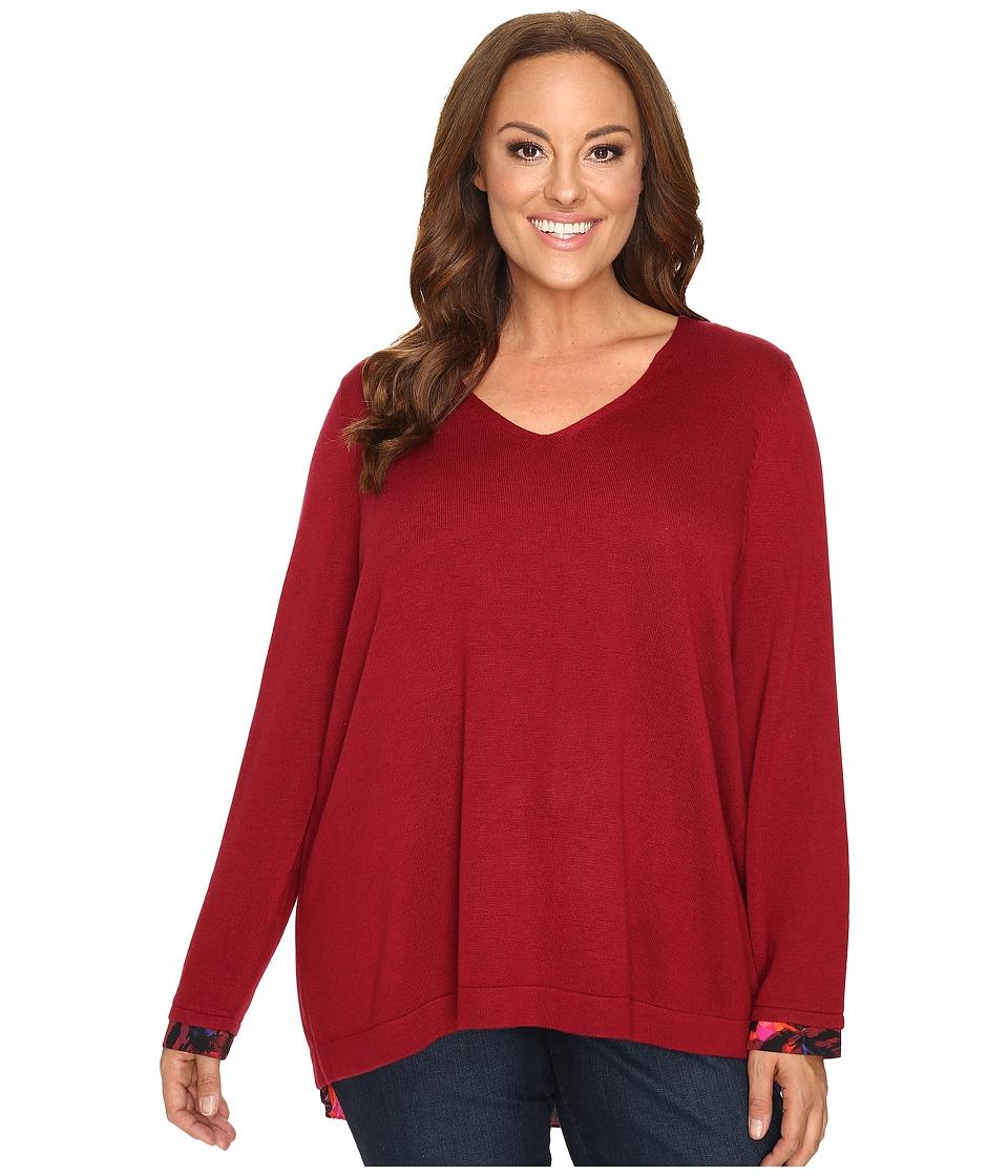 NYDJ Plus Size - Plus Size Mixed Media V-Neck Sweater (Carmine Promise) Women's Sweater