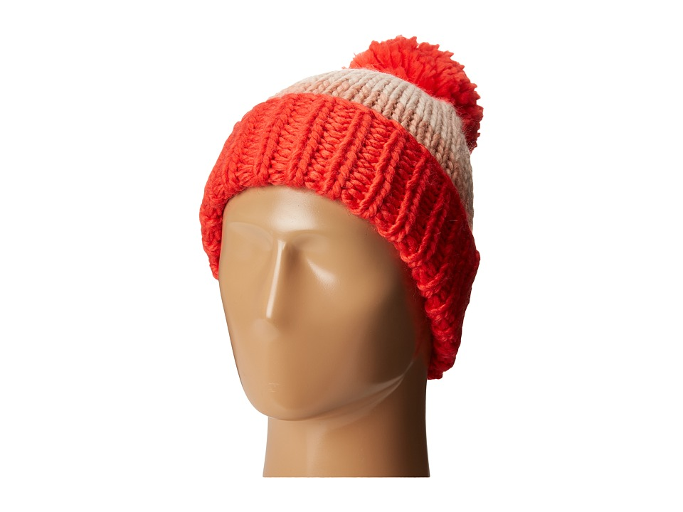 Kate Spade New York - Chunky Knit Color Block Beanie (Persimmon Grove) Beanies
