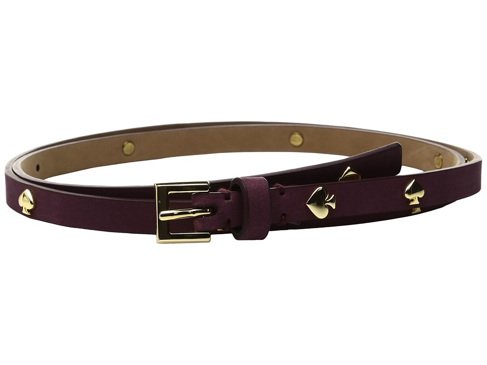 Kate Spade New York - 1/2 Nubuck Belt with Spade Rivets (Midnight Wine) Women's Belts