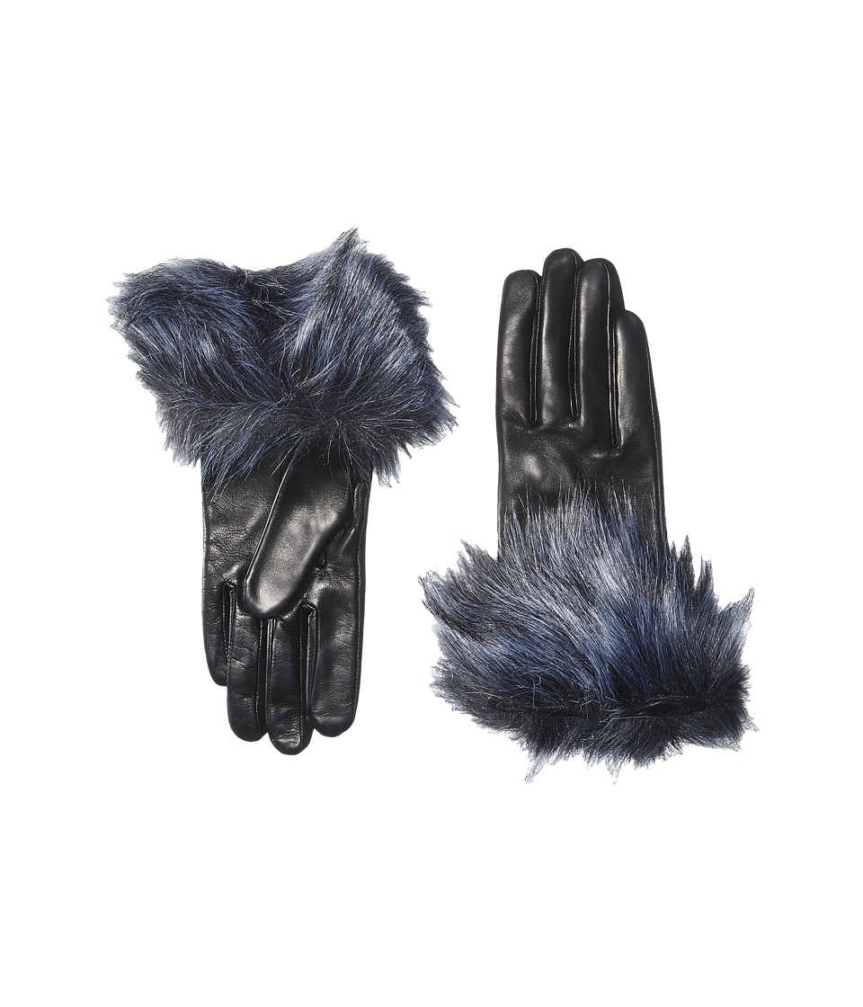 Kate Spade New York - Faux Fox Fur Short Gloves (Black/Silver Fox) Extreme Cold Weather Gloves