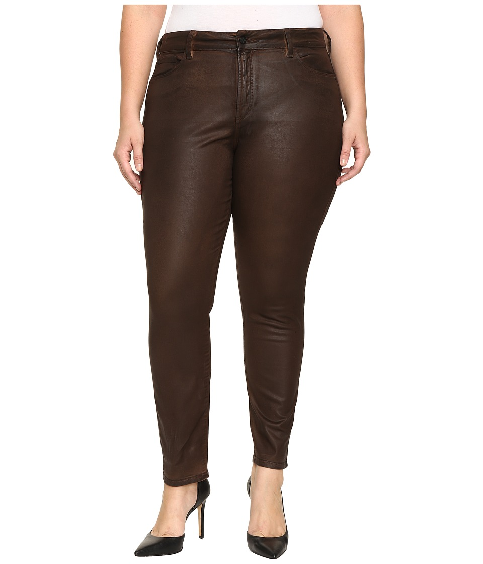 NYDJ Plus Size - Plus Size Alina Legging Jeans in Faux Leather Coating in Mahogany Brown Leather Coating (Mahogany/Brown Leather Coating) Women's Jeans