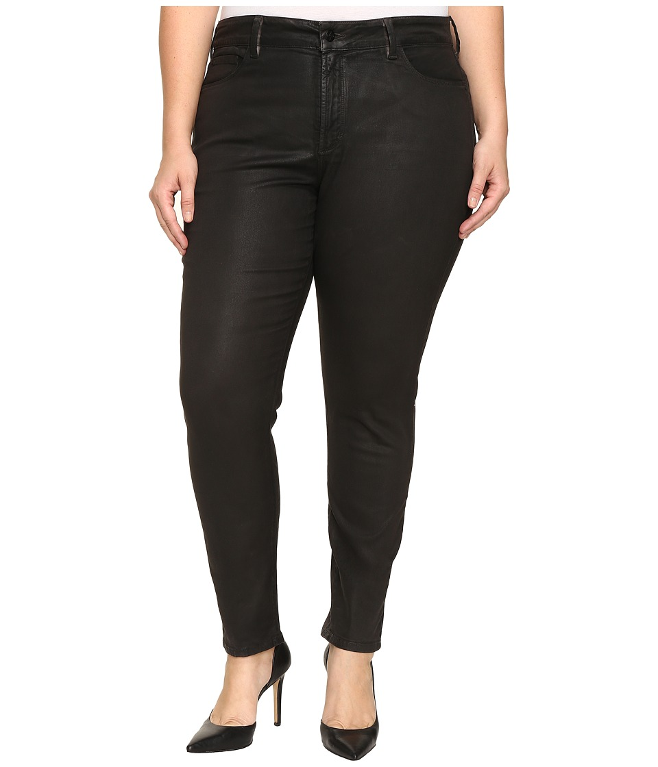 NYDJ Plus Size - Plus Size Alina Legging Jeans in Faux Leather Coating in Black Grey Leather Coating (Black/Grey Leather Coating) Women's Jeans