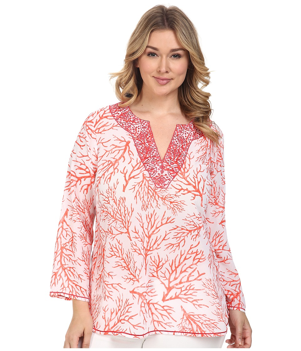 MICHAEL Michael Kors - Plus Size Solana Thread Work Tunic (Coral Reef) Women's Clothing