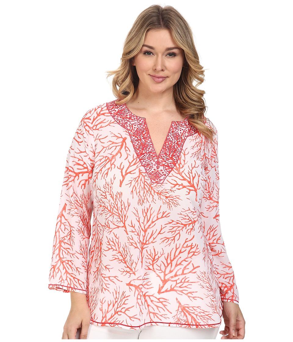 MICHAEL Michael Kors - Plus Size Solana Thread Work Tunic (Coral Reef) Women's Clothing