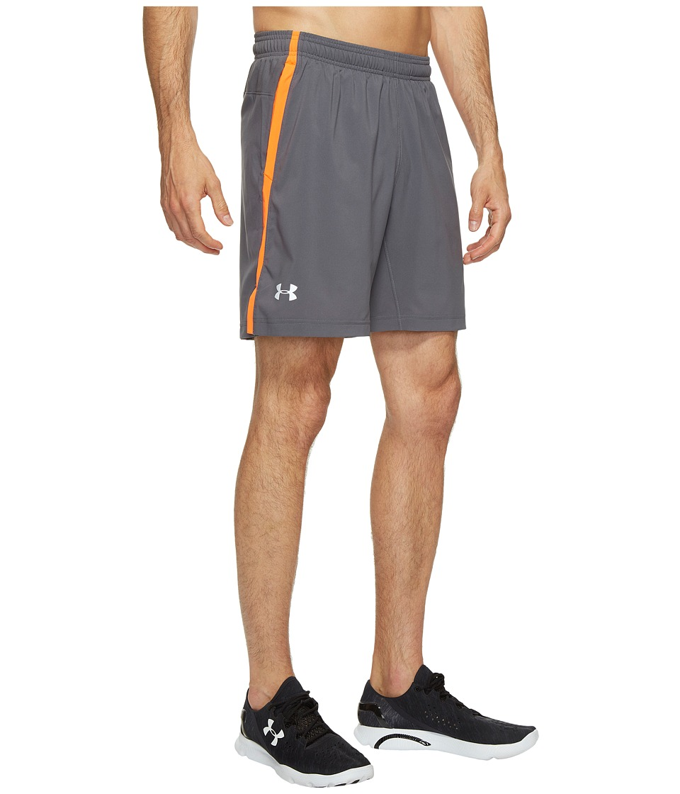 Under Armour - UA Launch Stretch Woven 2-in-1 Shorts (Rhino Gray/Phoenix Fire) Men's Shorts