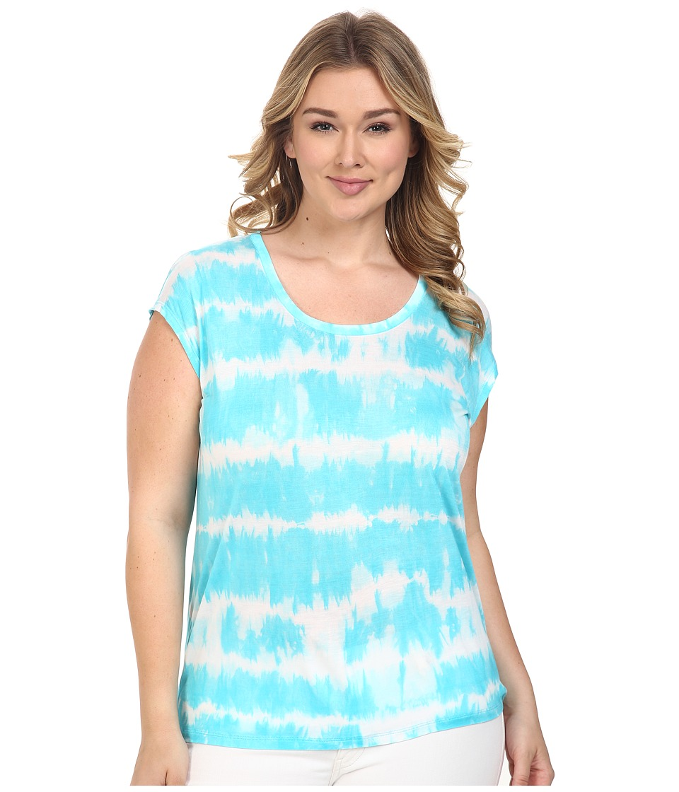 MICHAEL Michael Kors - Plus Size Boho Breakers Eliptical Top (Turquoise) Women's Clothing