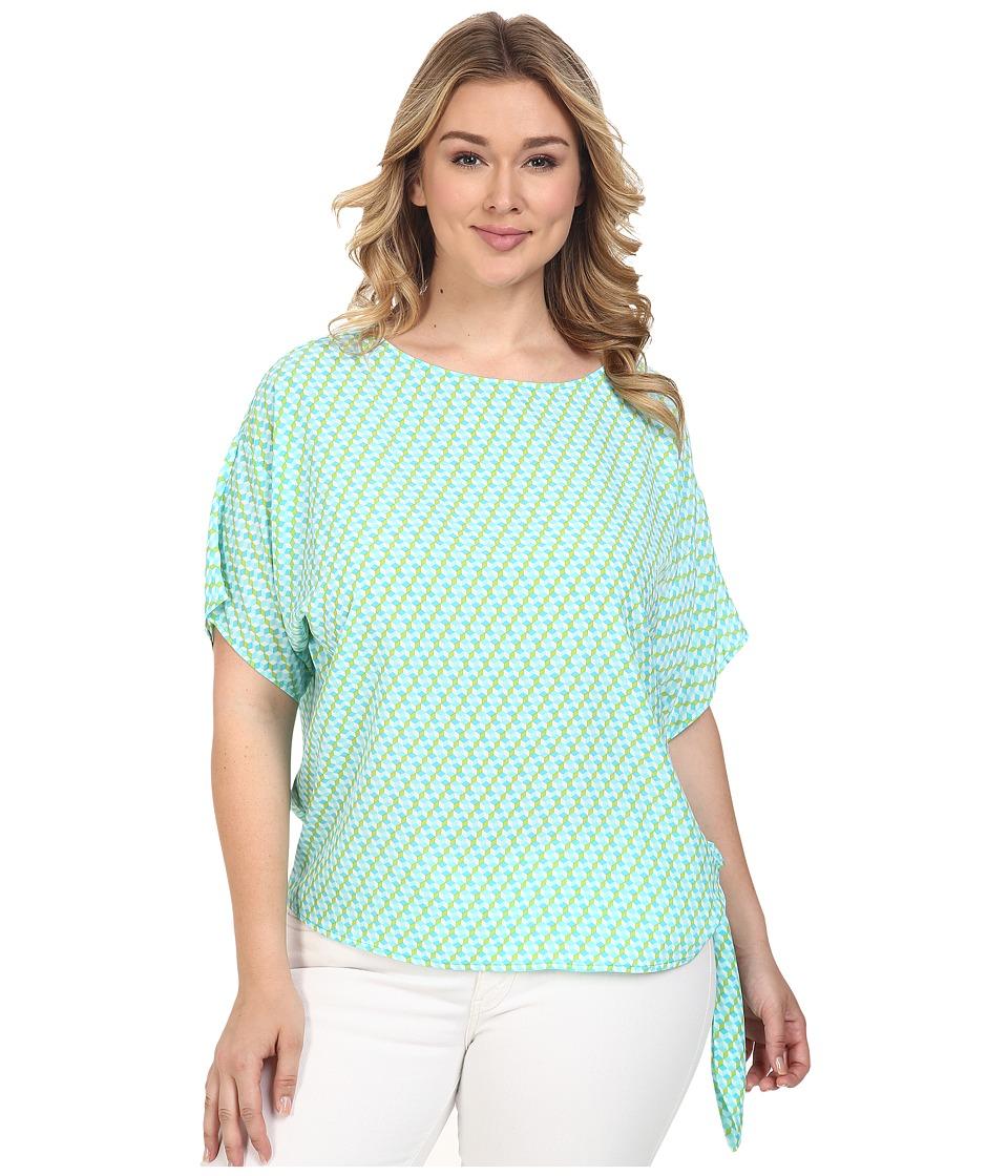 MICHAEL Michael Kors - Plus Size Mini Retro Tie Top (Turquoise) Women's Clothing