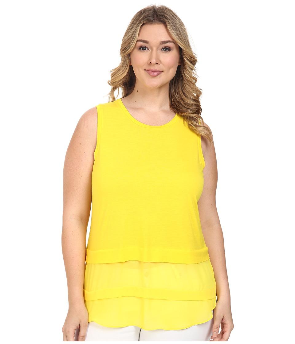 MICHAEL Michael Kors - Plus Size Sleeveless Crew Woven Mix Top (Citrus) Women's Sleeveless