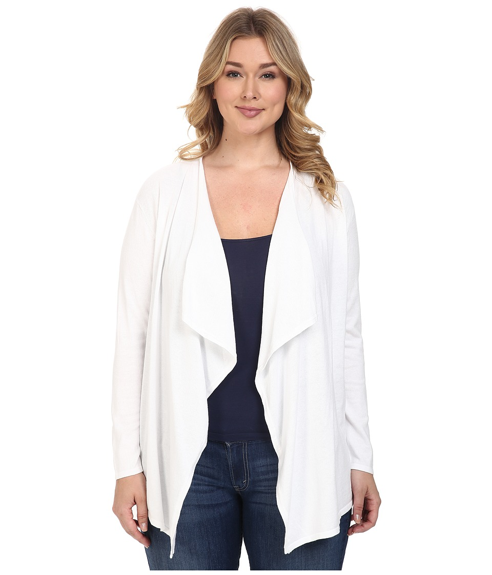 MICHAEL Michael Kors - Plus Size Drape Front Cardigan (White) Women's Sweater