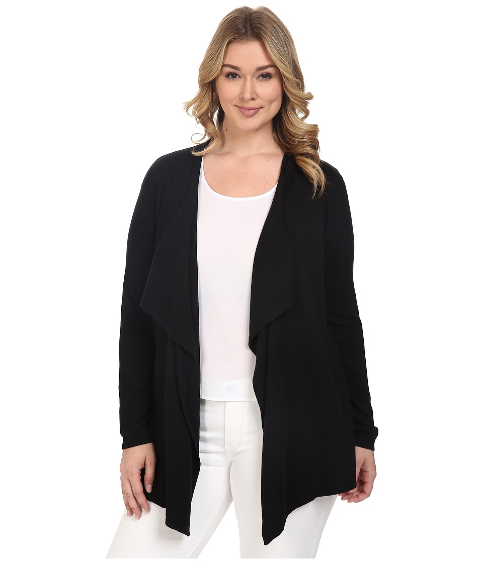 MICHAEL Michael Kors - Plus Size Drape Front Cardigan (Black) Women's Sweater