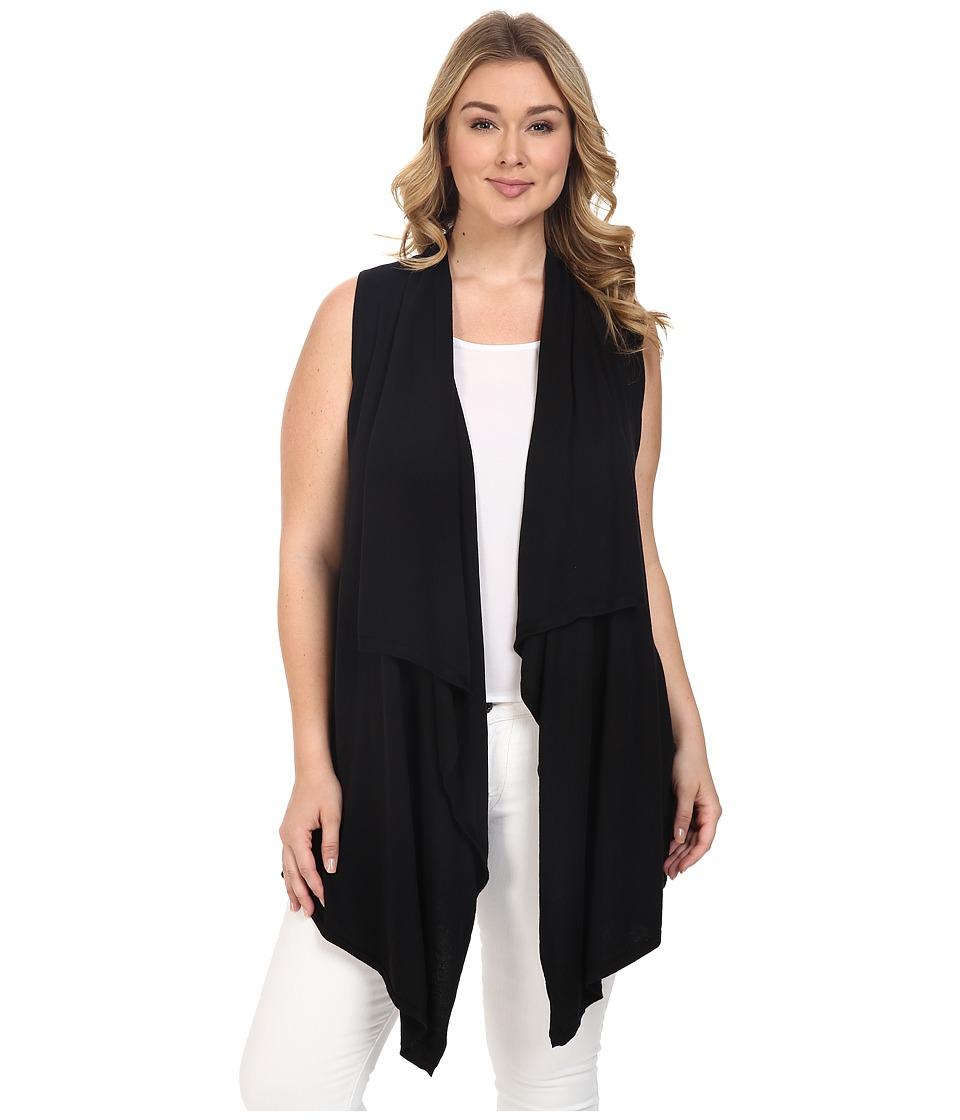 MICHAEL Michael Kors - Plus Size Drape Front Vest (Black) Women's Vest