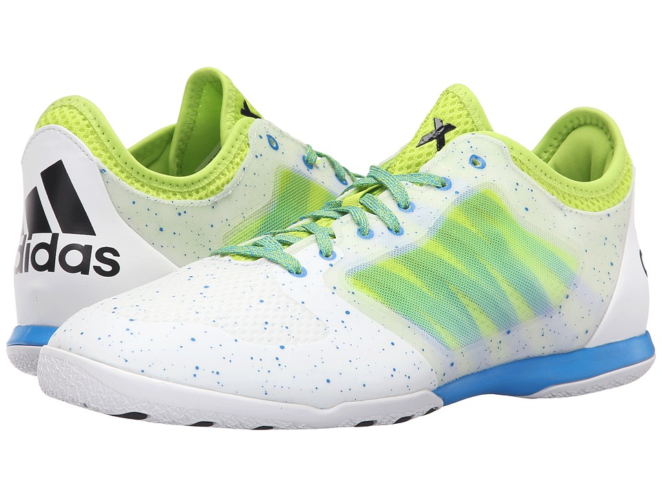 adidas - X 15.1 Court (White/Black/Semi Solar Slime) Men's Shoes