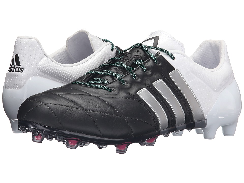 adidas - Ace 15.1 FG/AG Leather (Black/Silver/White) Men's Shoes