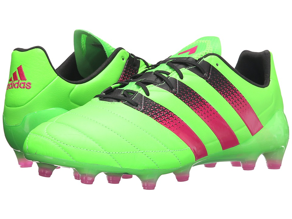 adidas - Ace 16.1 FG/AG Leather (Solar Green/Shock Pink/Black) Men's Shoes