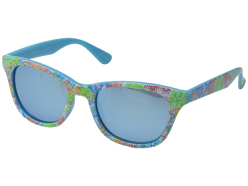 Lilly Pulitzer - Maddie (Polarized) (Polarized Light Aqua Mirror) Polarized Fashion Sunglasses