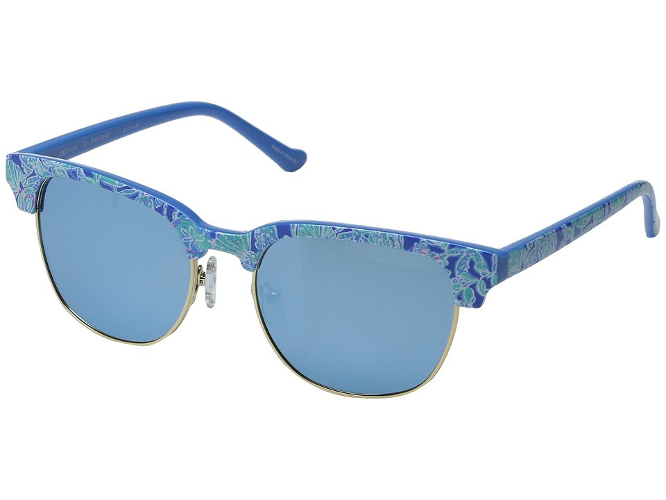 Lilly Pulitzer - Meghan (Polarized) (Polarized Light Aqua Mirror) Polarized Fashion Sunglasses