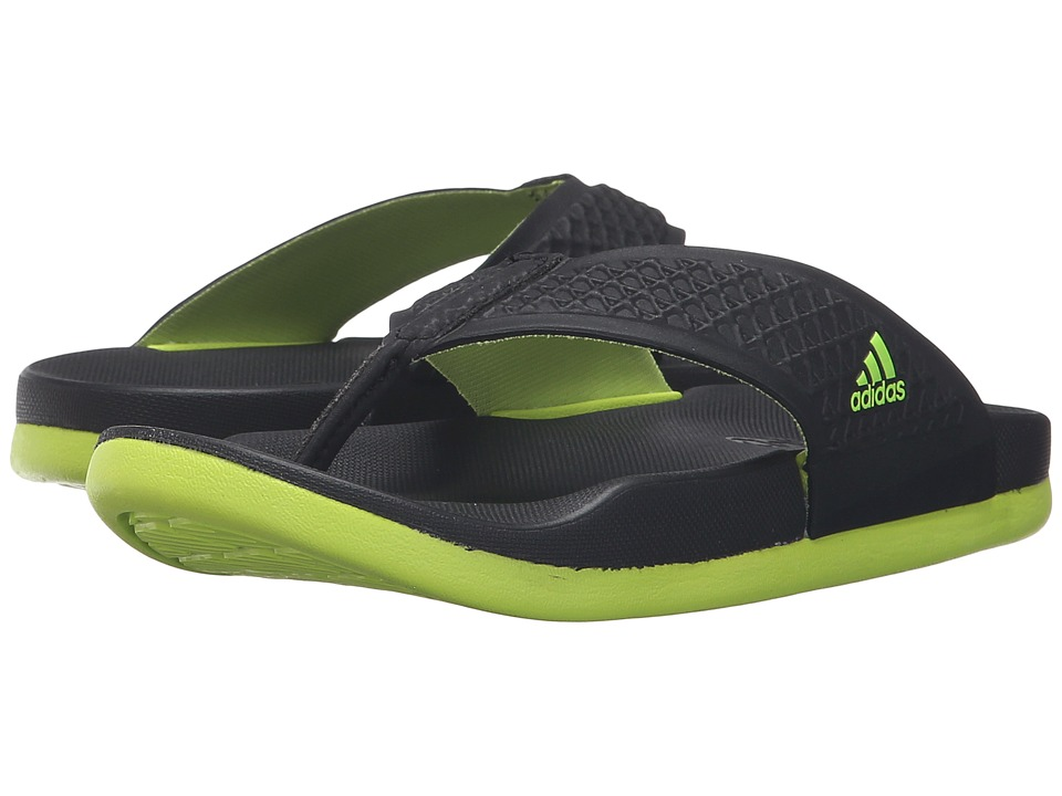 adidas Kids - Adilette SC+ Thong K (Toddler/Little Kid/Big Kid) (Black/Semi Solar Slime/Black) Kids Shoes