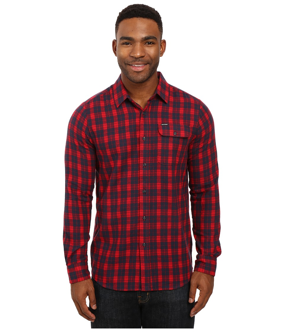 Volcom - Fulton Long Sleeve Flannel (Blood Red) Men's Clothing
