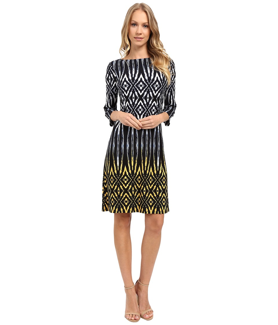 London Times - Tribal Diamond 3/4 Sleeve Shift Dress (Navy Yellow) Women's Dress