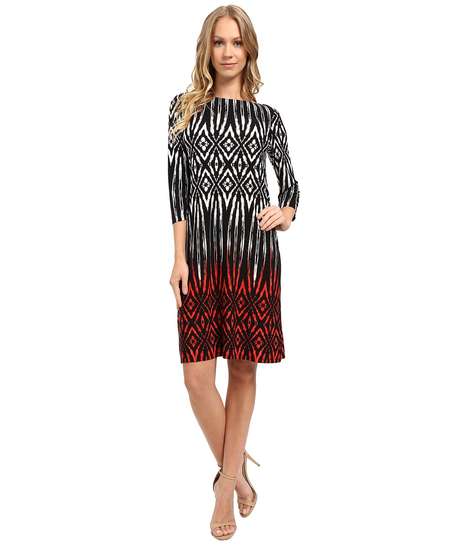 London Times - Tribal Diamond 3/4 Sleeve Shift Dress (Black Red) Women's Dress