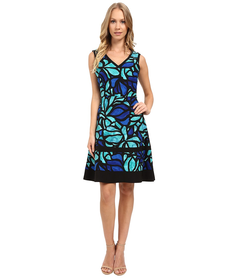 London Times - Stainless Glass Blossom Fit Flare Dress (Aqua) Women's Dress