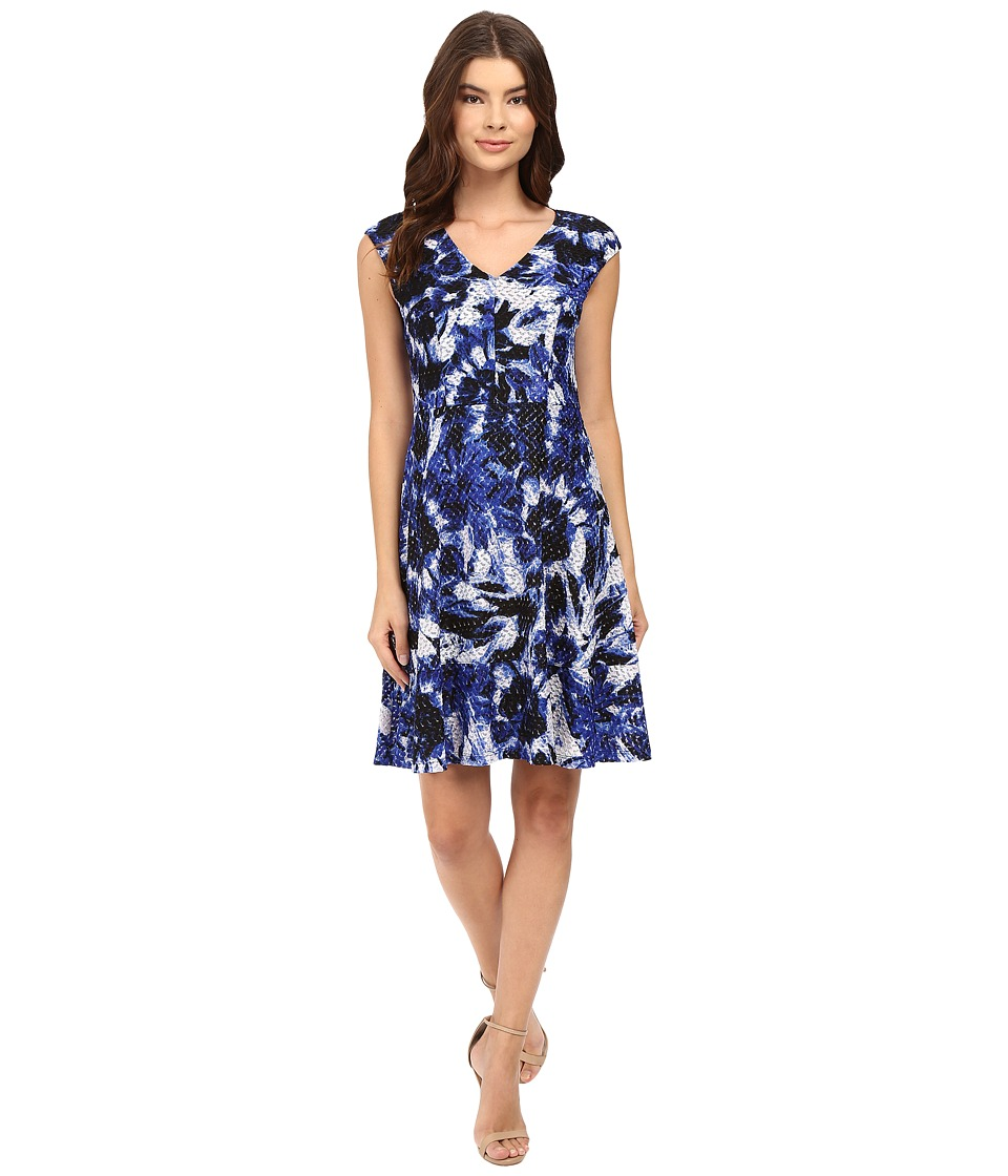 London Times - Van Gogh Flower Vnk Fit And Flare Dress (Royal) Women's Dress