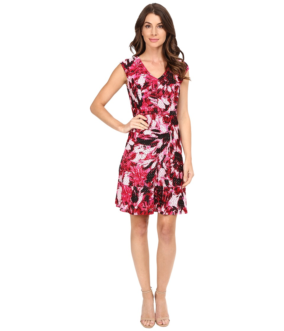 London Times - Van Gogh Flower Vnk Fit And Flare Dress (Pink) Women's Dress