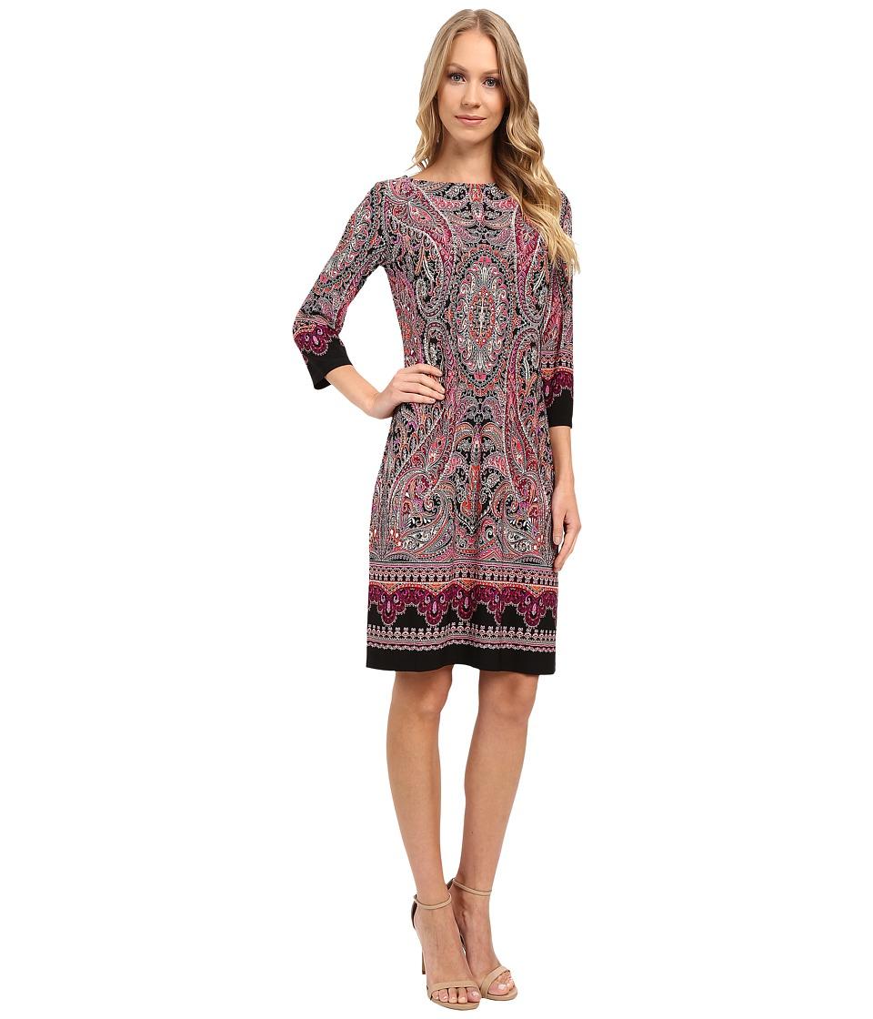 London Times - Placed Scroll Paisley 3/4 Shift Dress (Pink Multi) Women's Dress