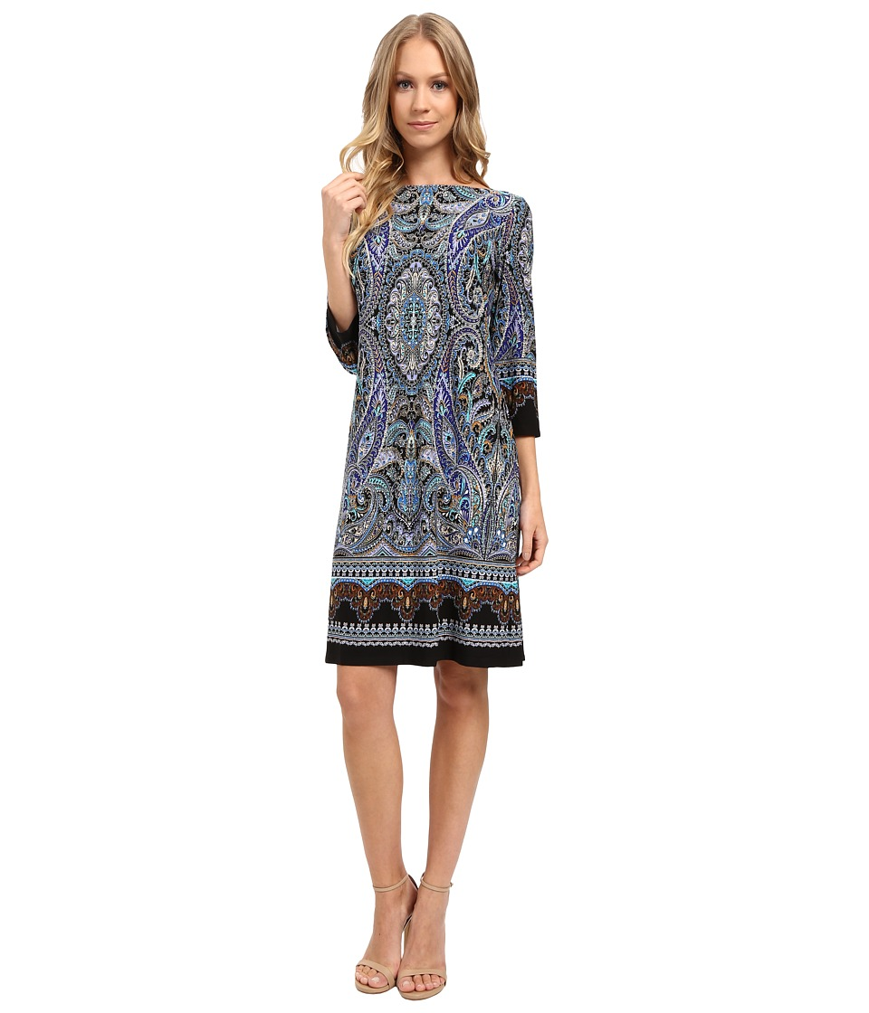 London Times - Placed Scroll Paisley 3/4 Shift Dress (Blue Multi) Women's Dress