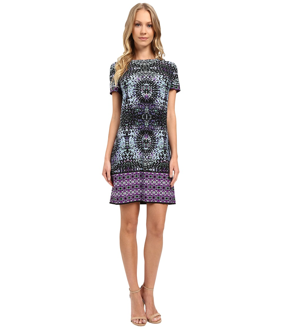 London Times - Prism Border Short Sleeve Shift Dress (Purple) Women's Dress