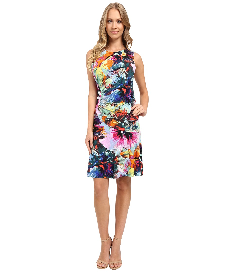London Times Pixel Bloom Ruched Fit Flare Dress (Multi) Women