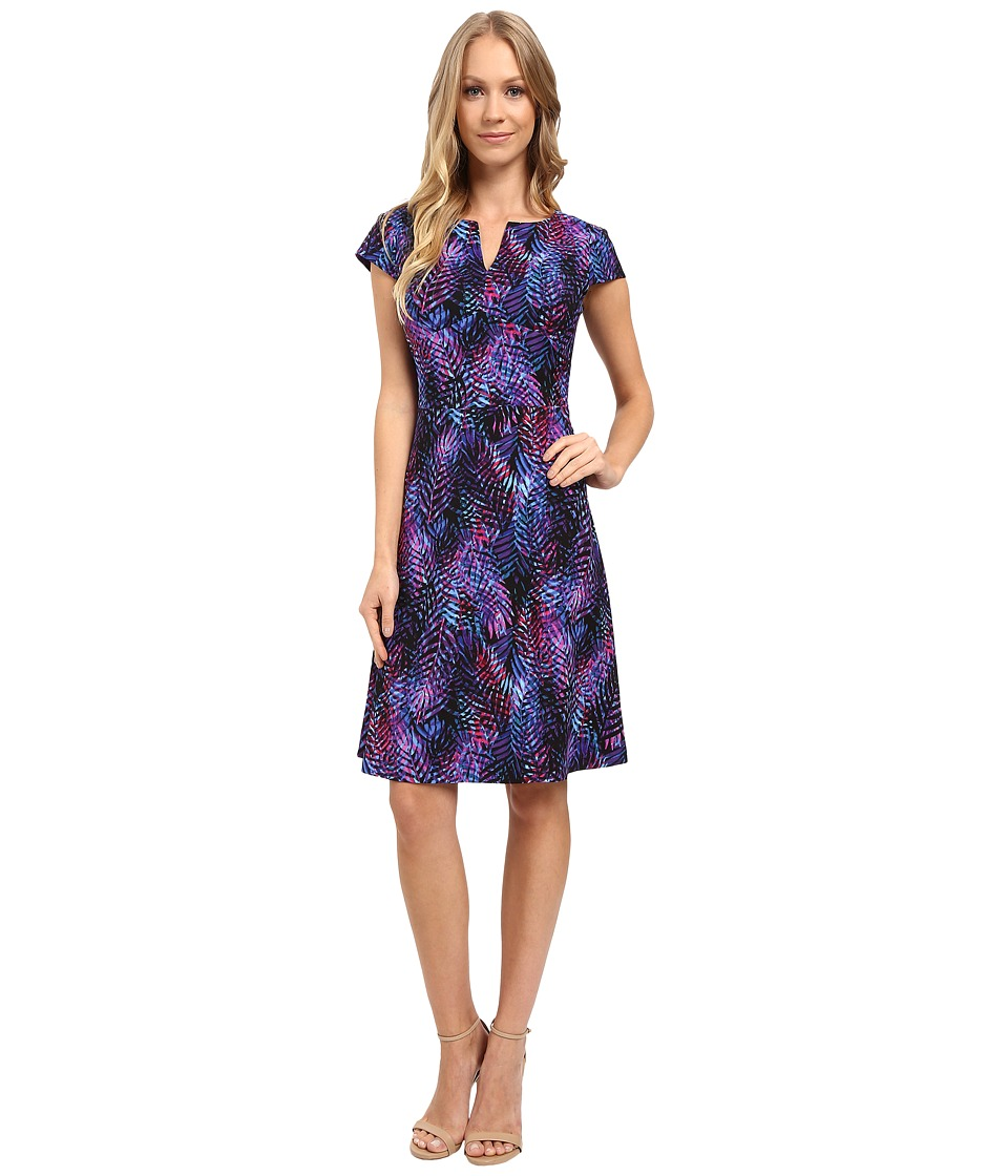 London Times - Ombre Leaf Palm Fit Flare Dress (Purple) Women's Dress