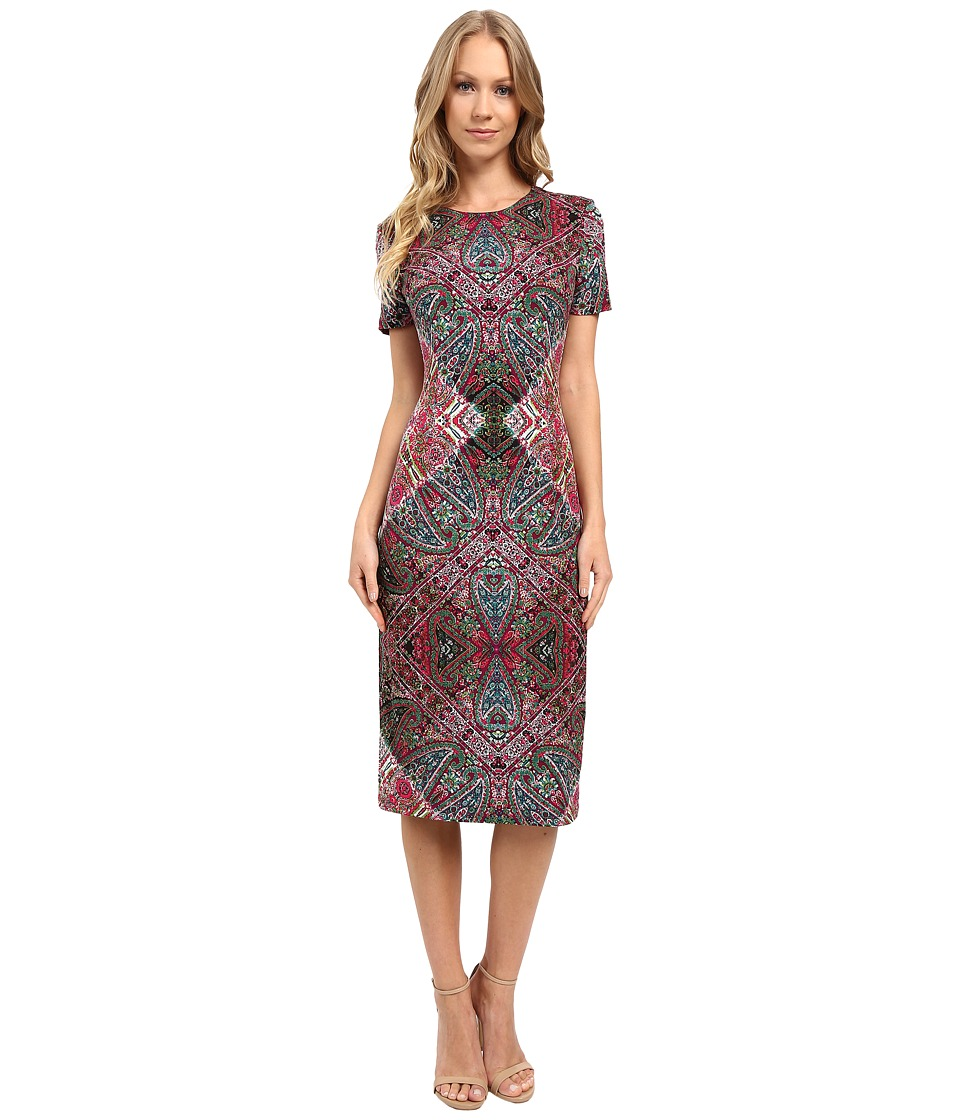 London Times - Foulard Carpet Short Sleeve Sheath Dress (Pink Multi) Women's Dress