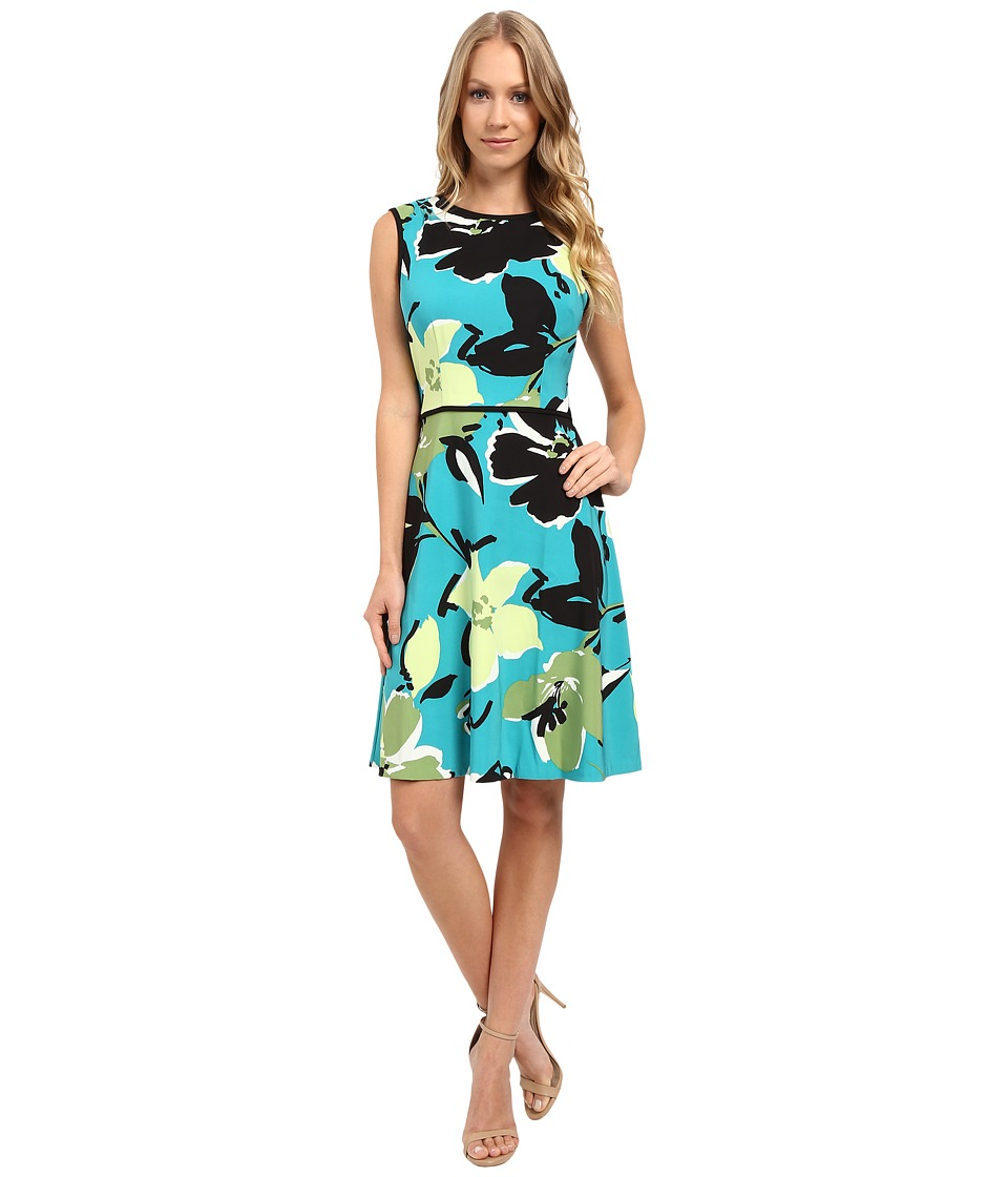 London Times - Scatter Stem Sleeveless Full Skirt (Aqua Lime) Women's Skirt