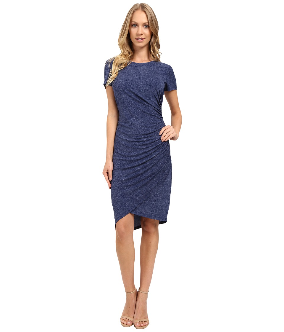 London Times - Short Sleeve Ruched Sheath Dress (Denim) Women's Dress