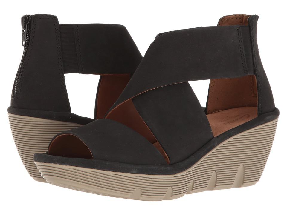 Clarks - Clarene Glamour (Black Nubuck) Women's Sandals