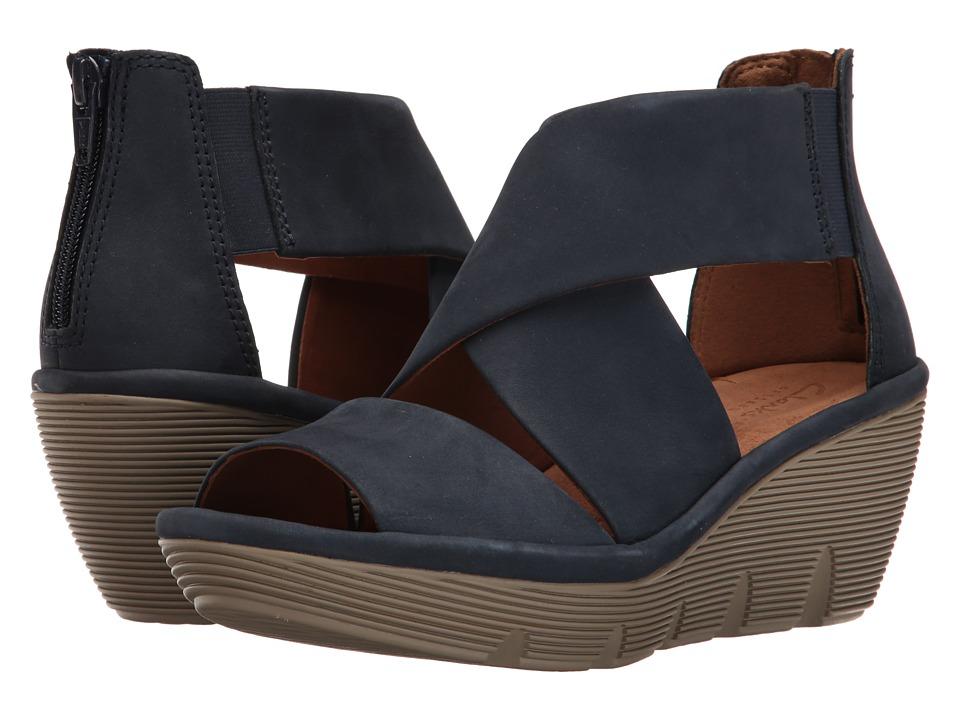 Clarks - Clarene Glamour (Navy Nubuck) Women's Sandals