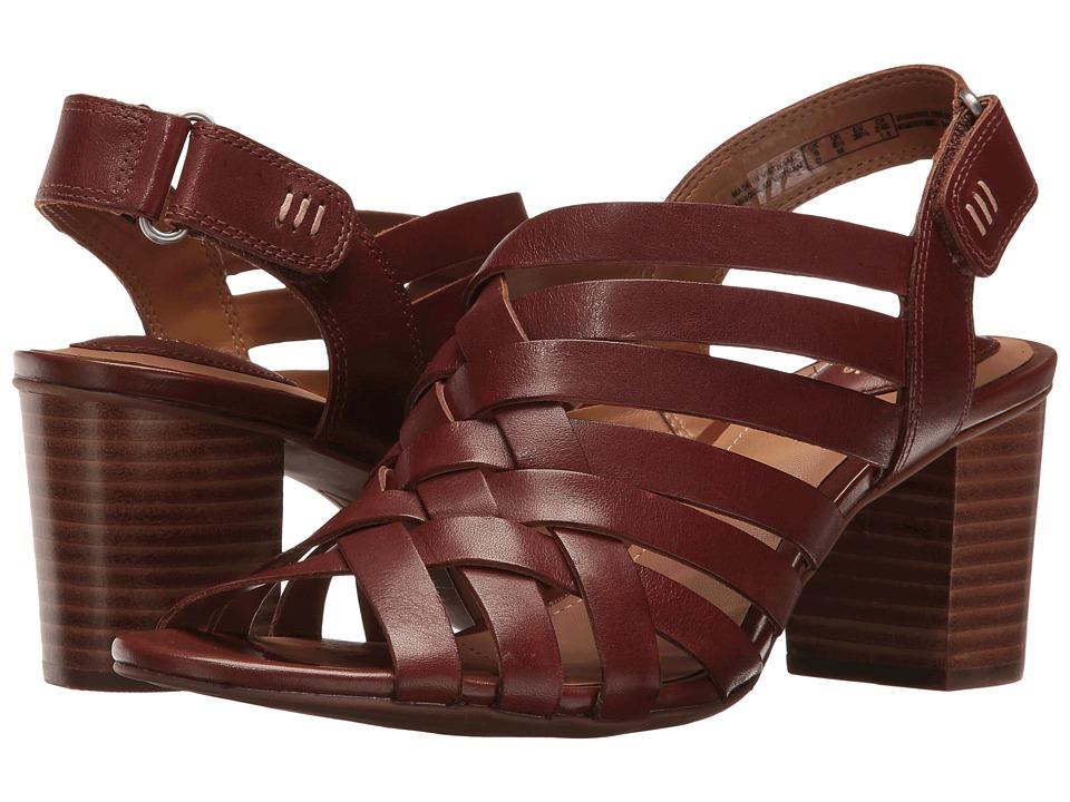 Clarks - Ralene Luster (Dark Tan Leather) Women's Sandals