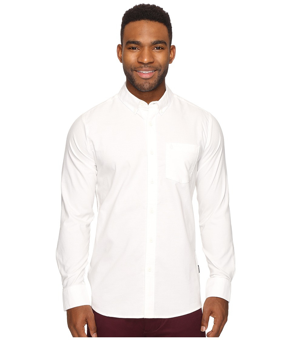 Volcom - Oxford Stretch Long Sleeve Woven (Cloud White) Men's Clothing