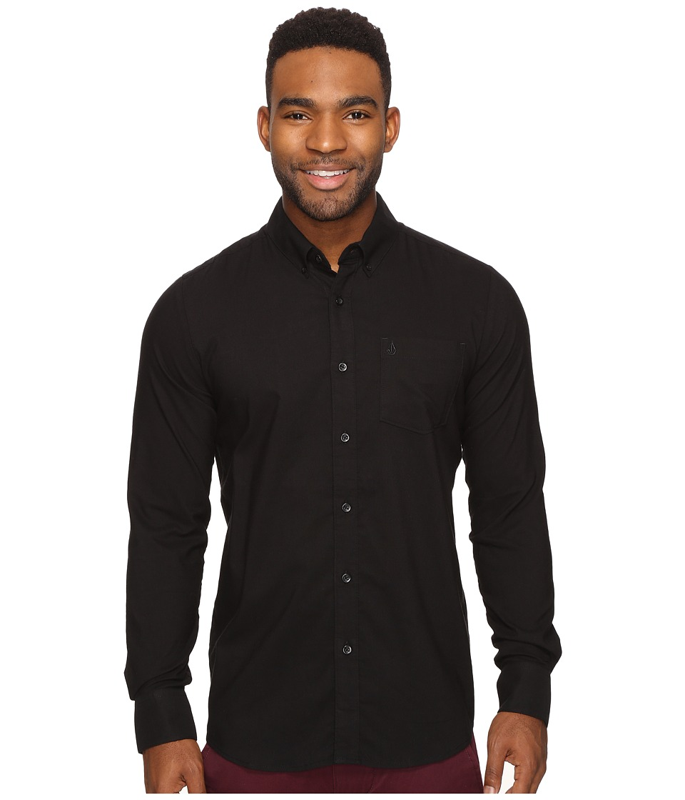 Volcom - Oxford Stretch Long Sleeve Woven (Black) Men's Clothing