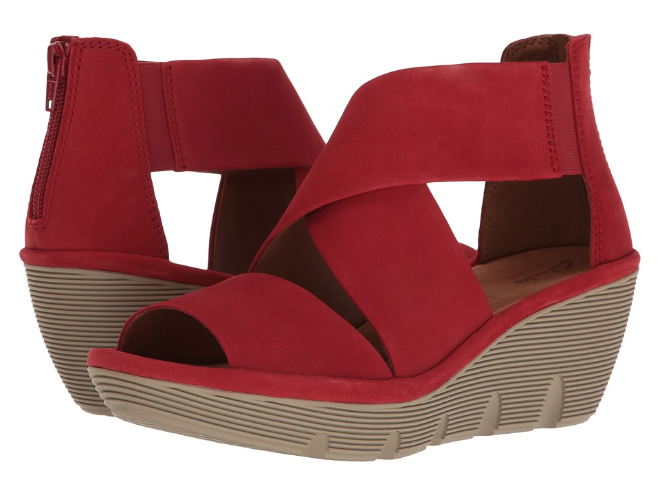Clarks - Clarene Glamour (Red Nubuck) Women's Sandals