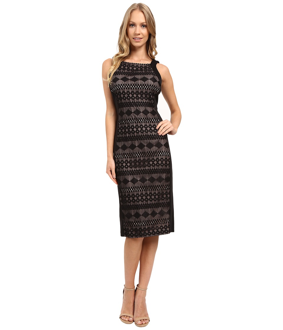 London Times - Geo Diamond Stripe Midi Sheath Dress (Black Nude) Women's Dress