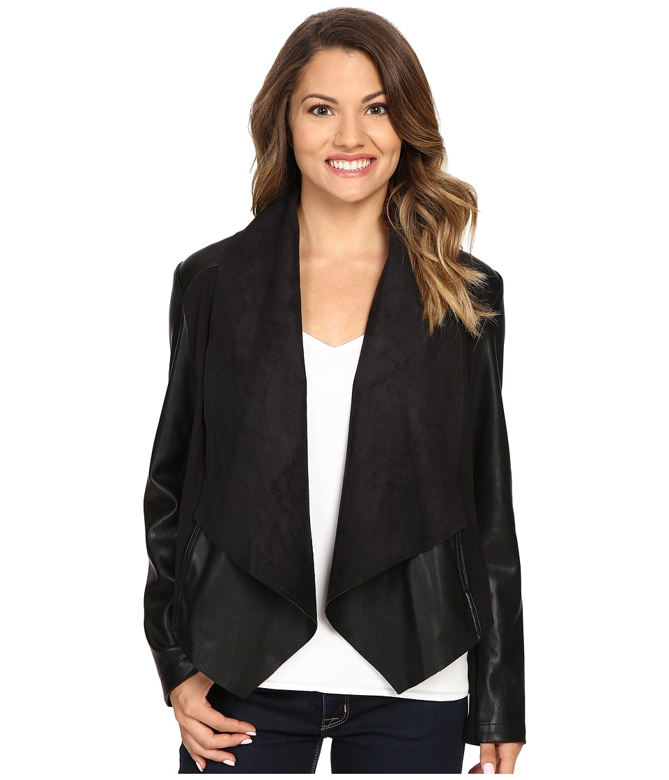 KUT from the Kloth - Petite Ana Drape Front Ponte and Faux Leather Jacket (Black) Women's Coat