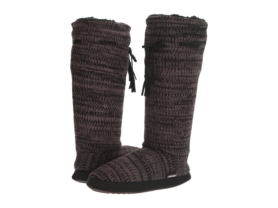 MUK LUKS - Tall Grommet Tie Boot (Black 2 Color Marl Midnight) Women's Boots