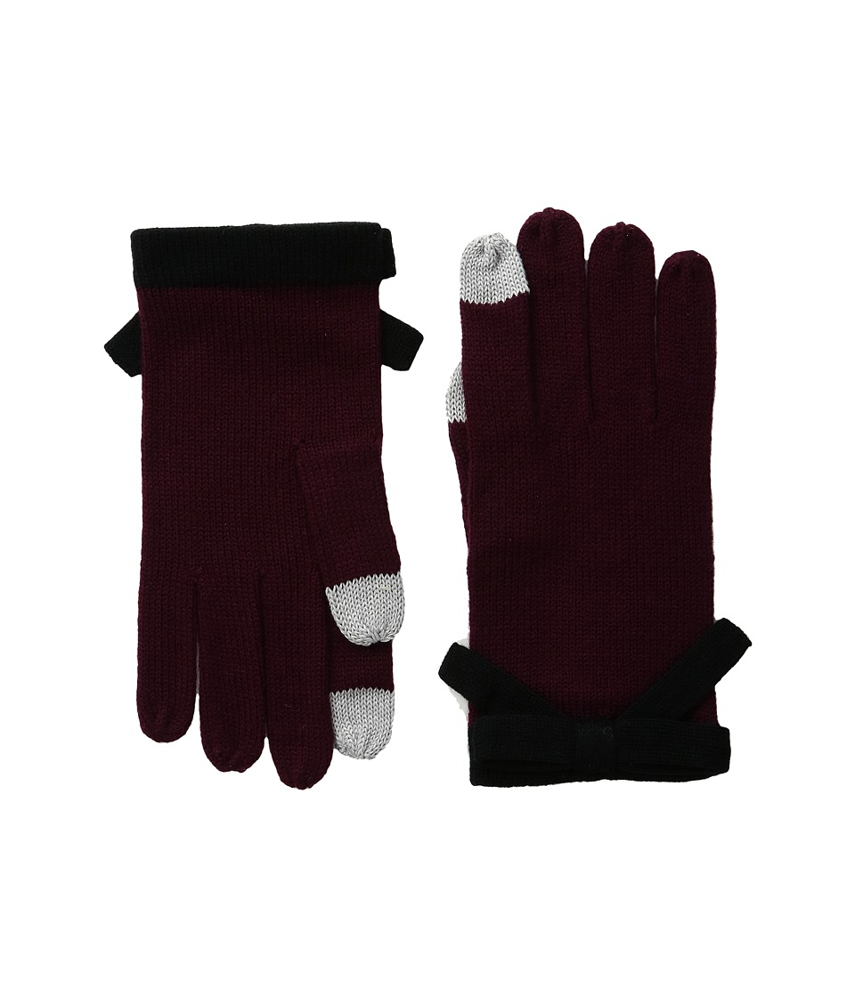 Kate Spade New York - Contrast Bow Gloves (Midnight Wine/Black) Extreme Cold Weather Gloves