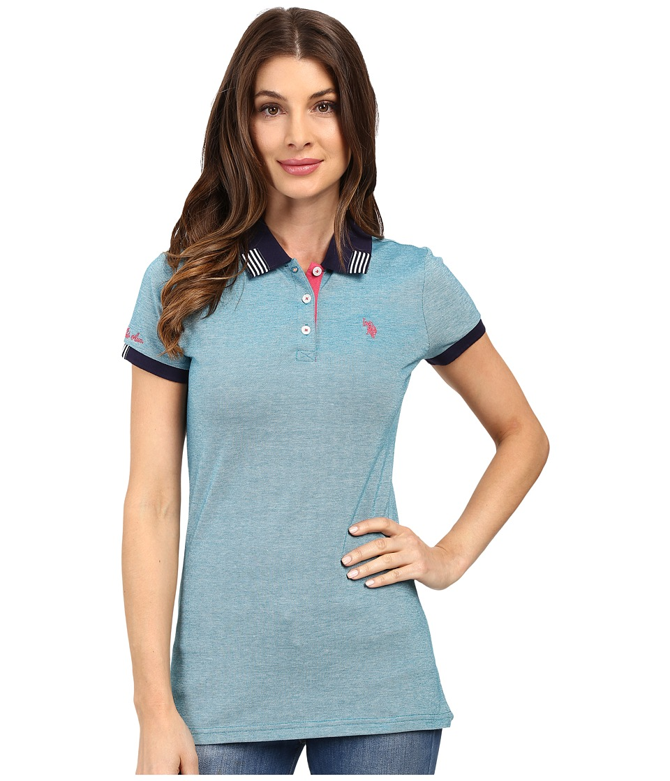 U.S. POLO ASSN. - Birdseye Pique Polo Shirt (Ocean Depths) Women's Clothing