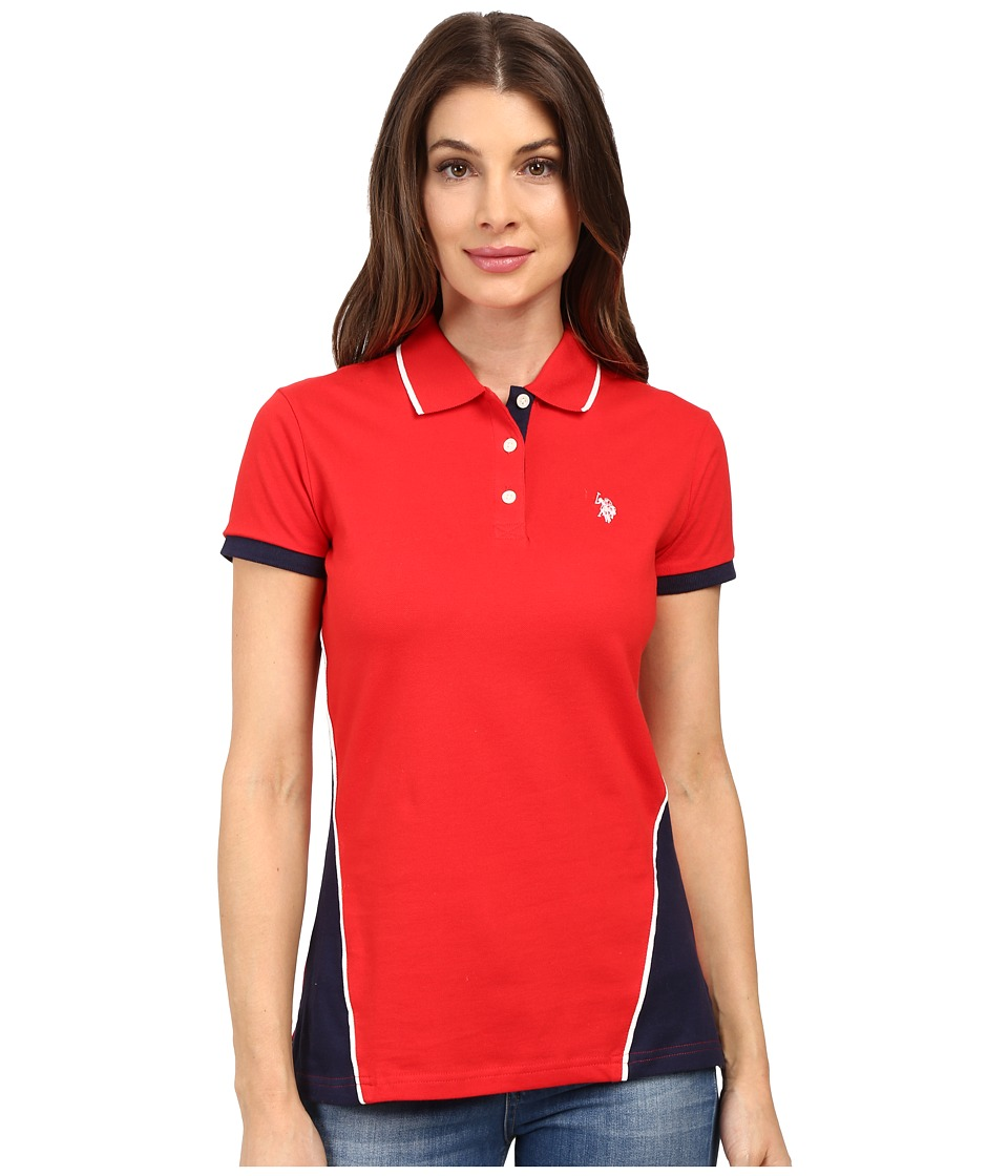 U.S. POLO ASSN. - Splice Polo Shirt (Racing Red) Women's Clothing